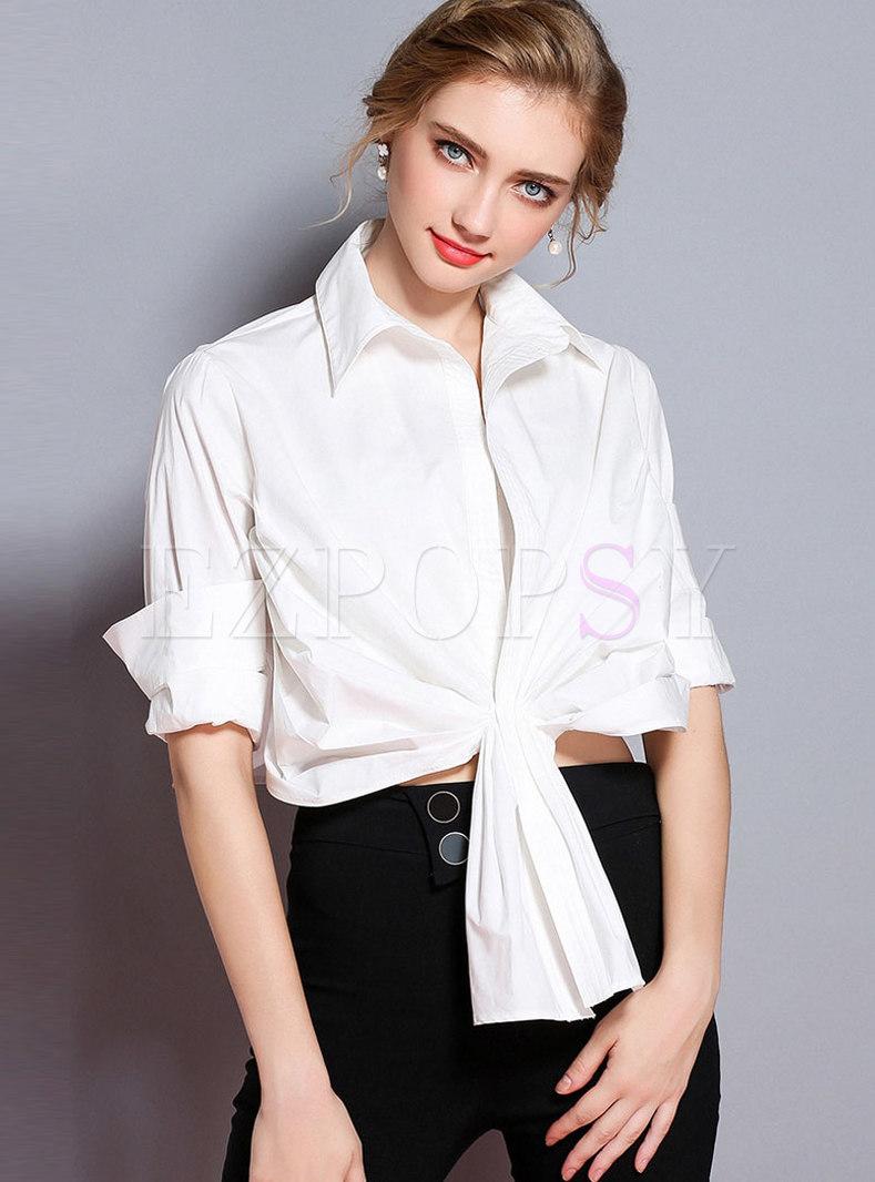 Stylish White Turn-down Collar Half Sleeve Shirred Blouse