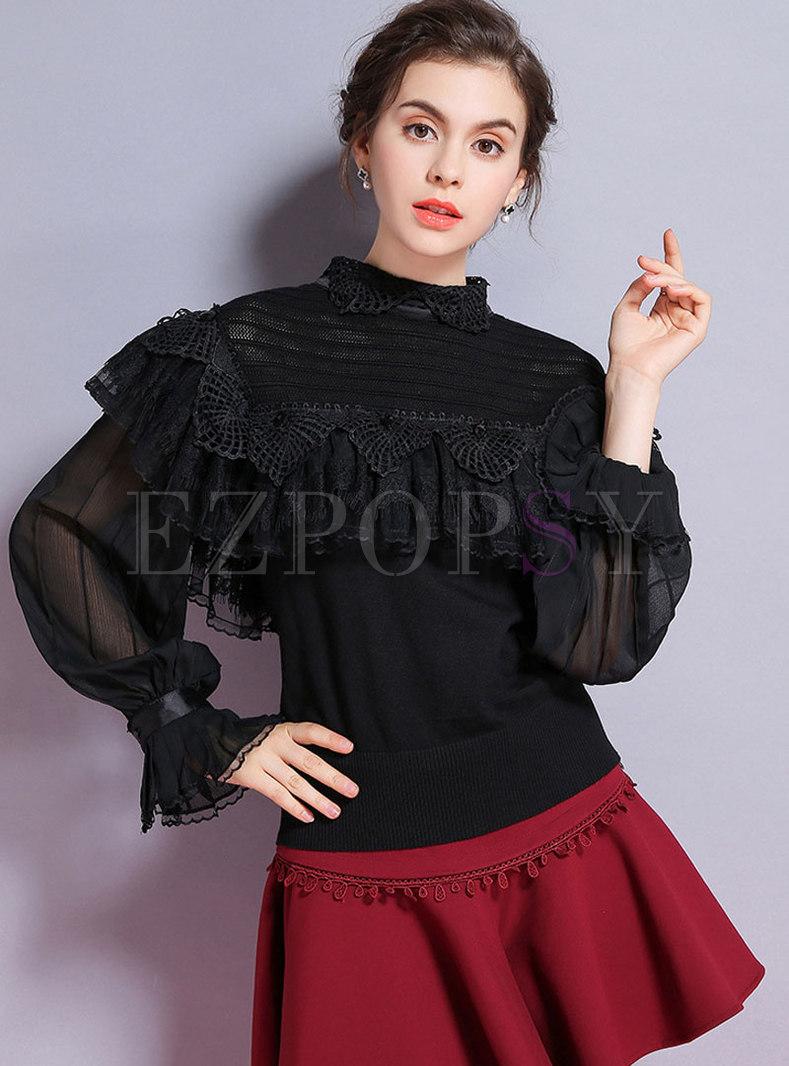 Fashion Black Stand Collar Drilling Falbala Knitted Sweater