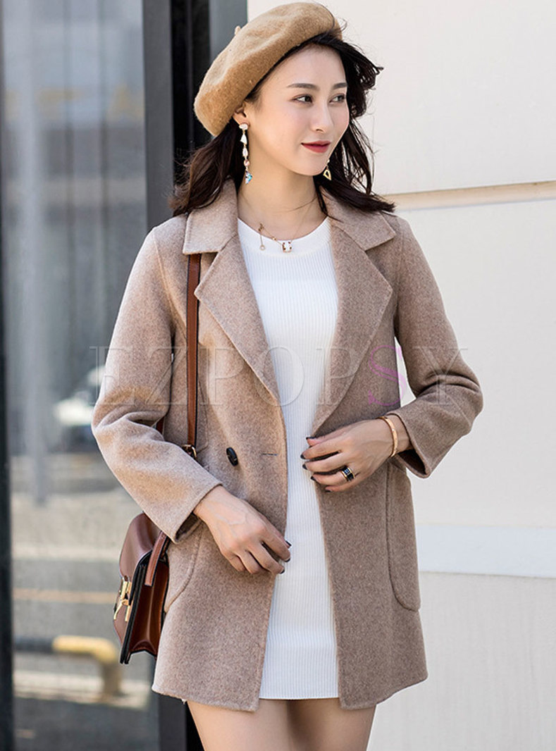 Trendy Turn Down Collar Double-breasted Straight Coat
