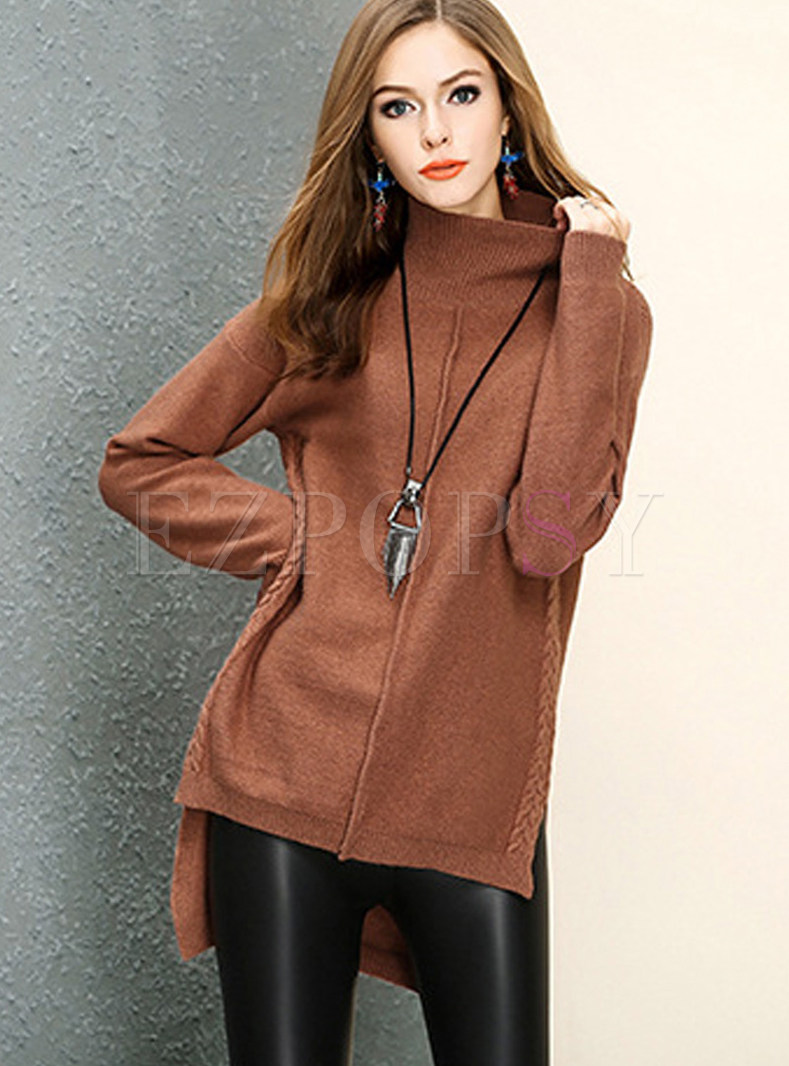 Casual Turtle Neck Irregular Pullover Sweater
