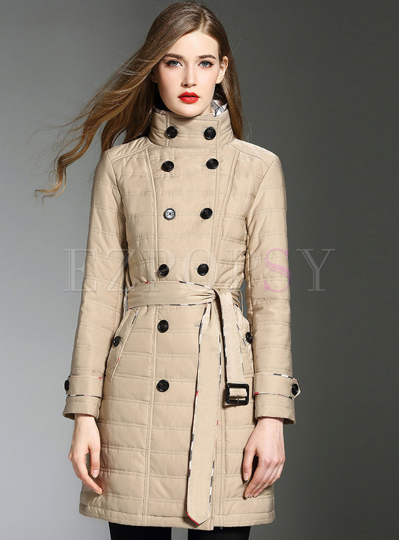 Stylish Stand Collar Double-breasted Belted Slim Thick Coat