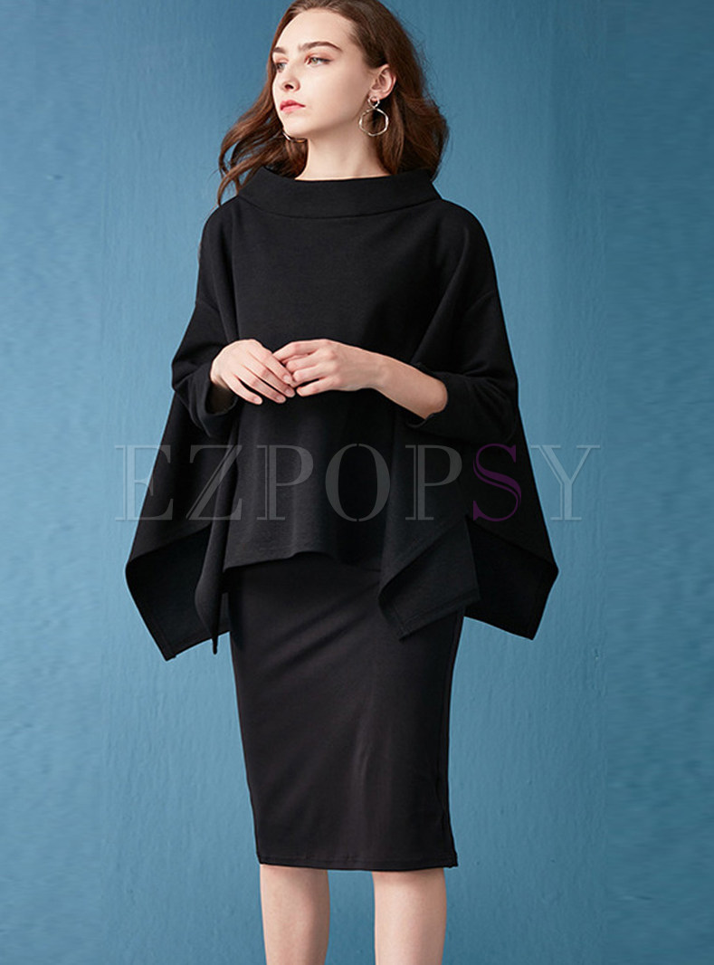 Standing Collar Bat Sleeve Top & O-neck Slit Dress