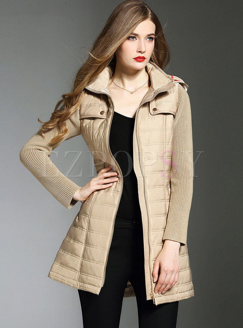 Chic Splicing Hooded Belted Thick Coat