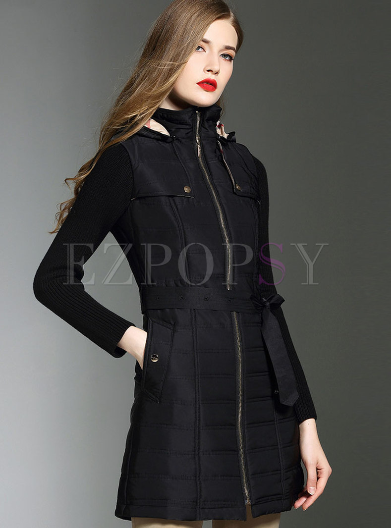 Knitted Sleeve Hooded Belted Thick coat