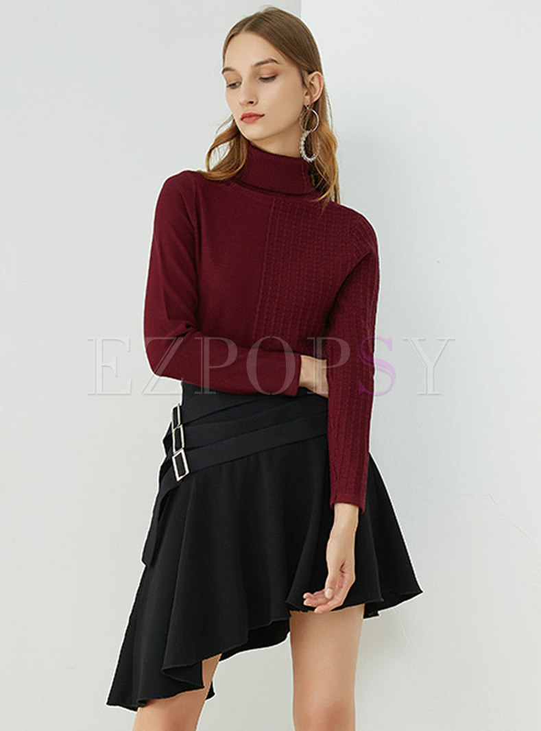 Tops Sweaters Trendy Purple Red Autumn Turtle Neck Knitting Sweater