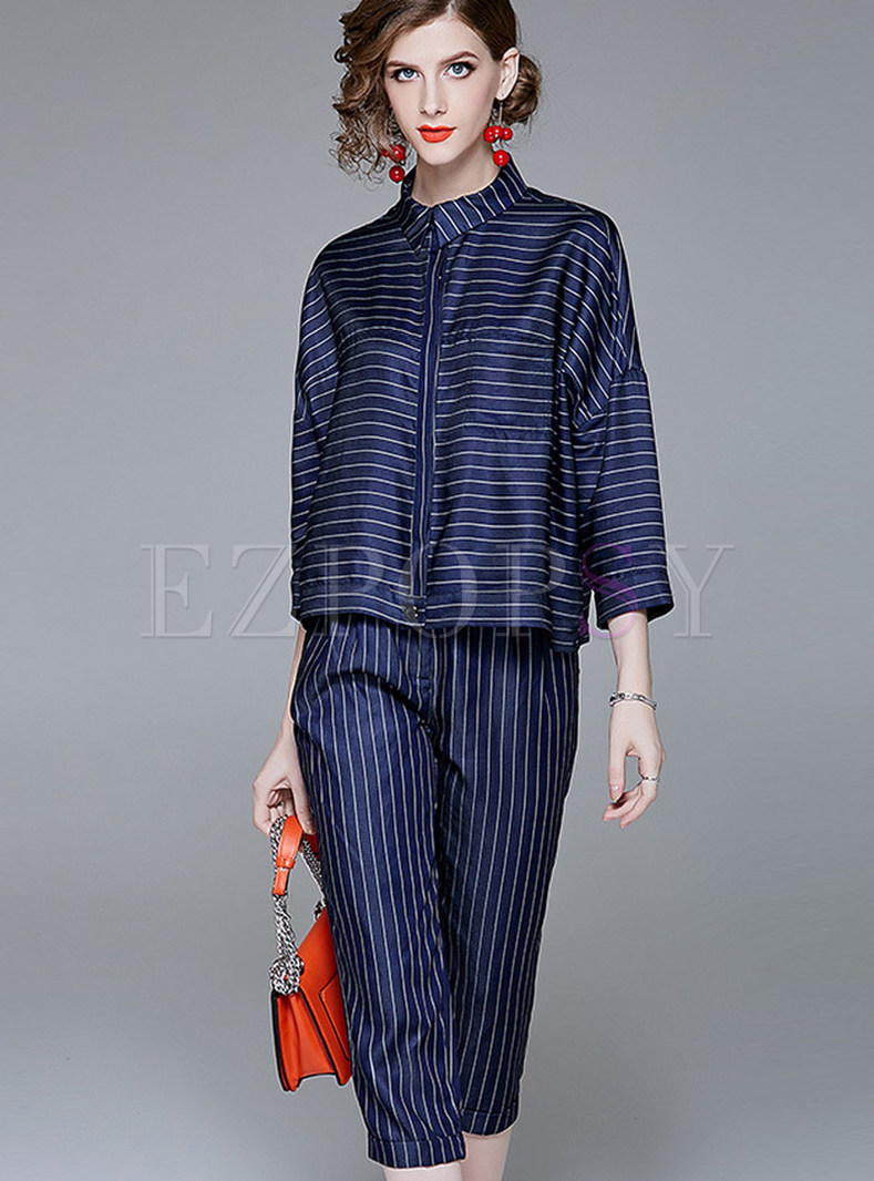 Casual Striped Lapel Single-breasted Two Piece Outfits