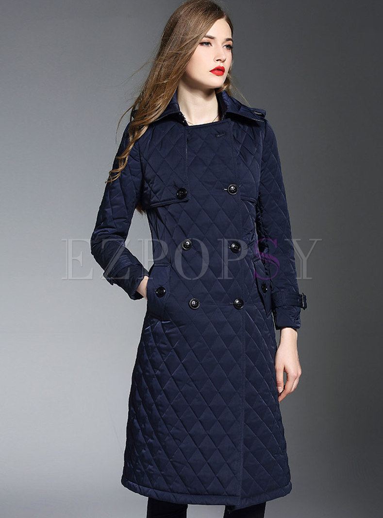 Pure Color Belted Double-breasted Slim Down Coat