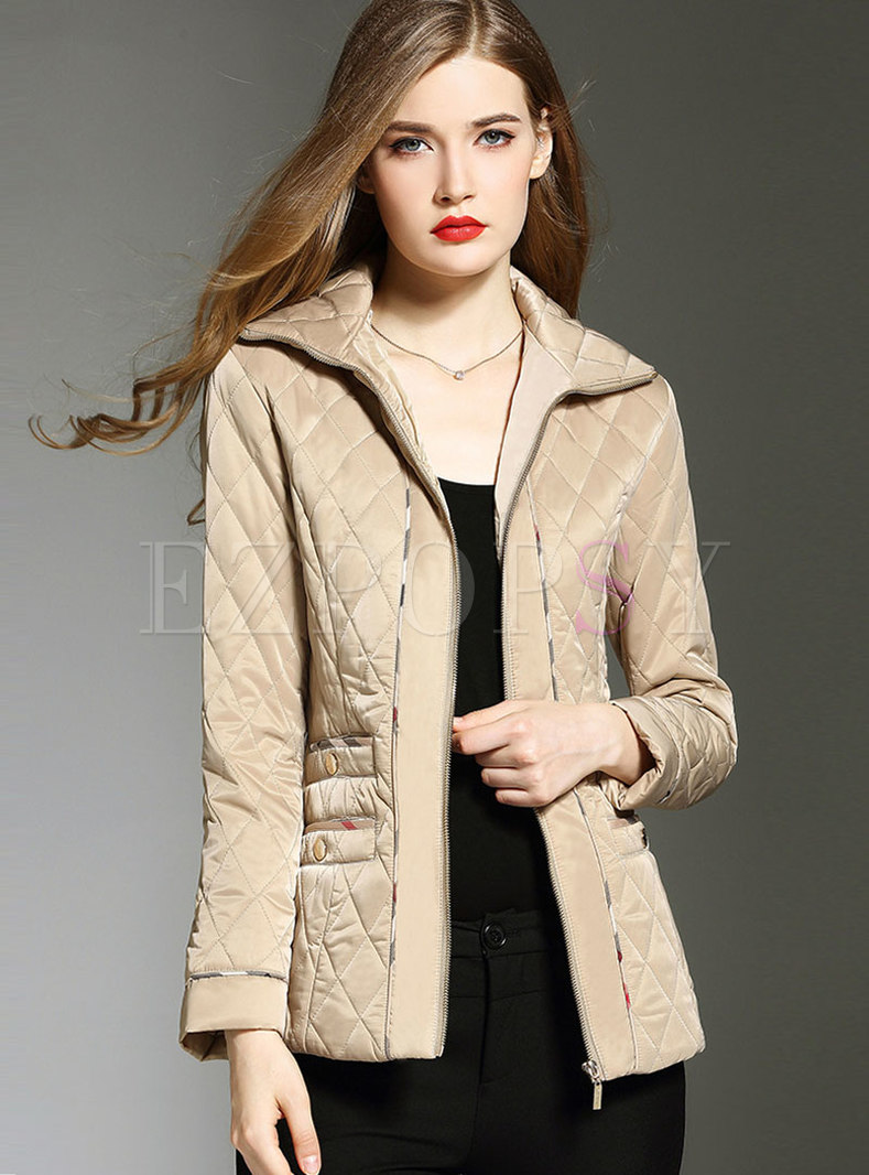 Elegant Lapel Zippered Slim Down Coat