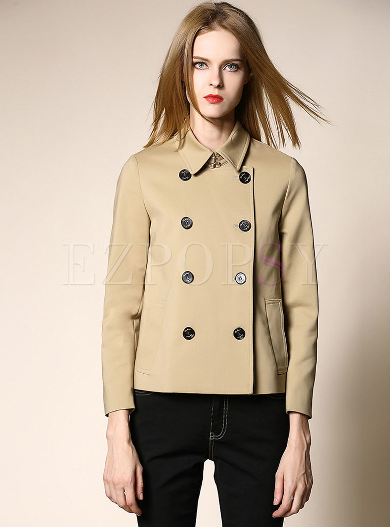 Solid Color Lapel Double-breasted Straight Trench Coat