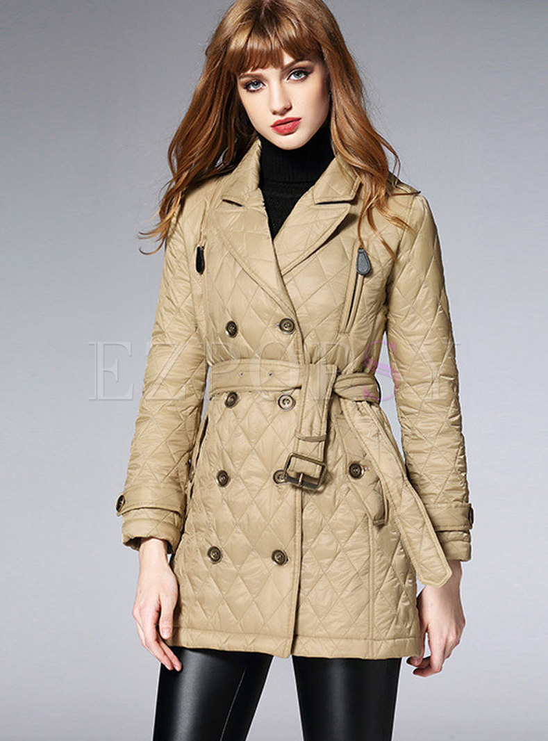 Pure Color Turn Down Collar Belted Slim Thick Coat