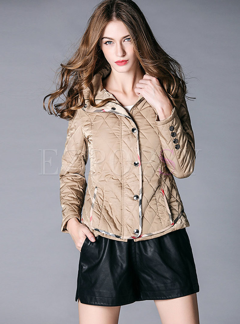 Color-blocked Hooded Single-breasted Asymmetric Thick Coat