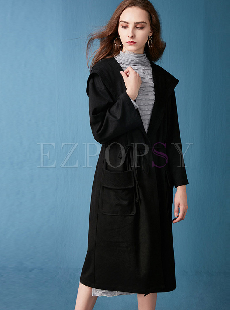 Solid Color Knee-length Tie-waist Hooded Overcoat