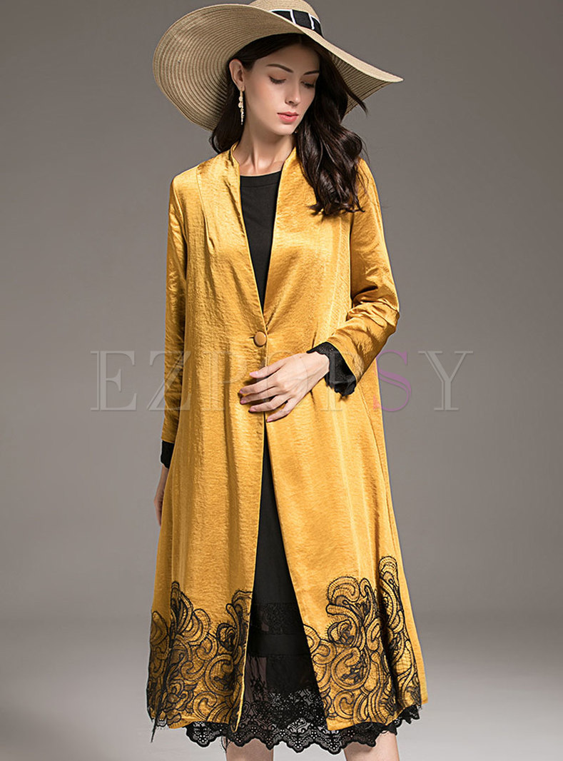 Elegant Stand Collar Plus Size Single-breasted Straight Coat
