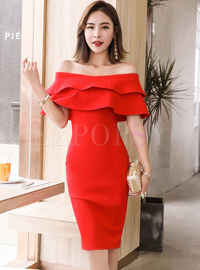 Sexy Pure Color Off Shoulder Slim Dress