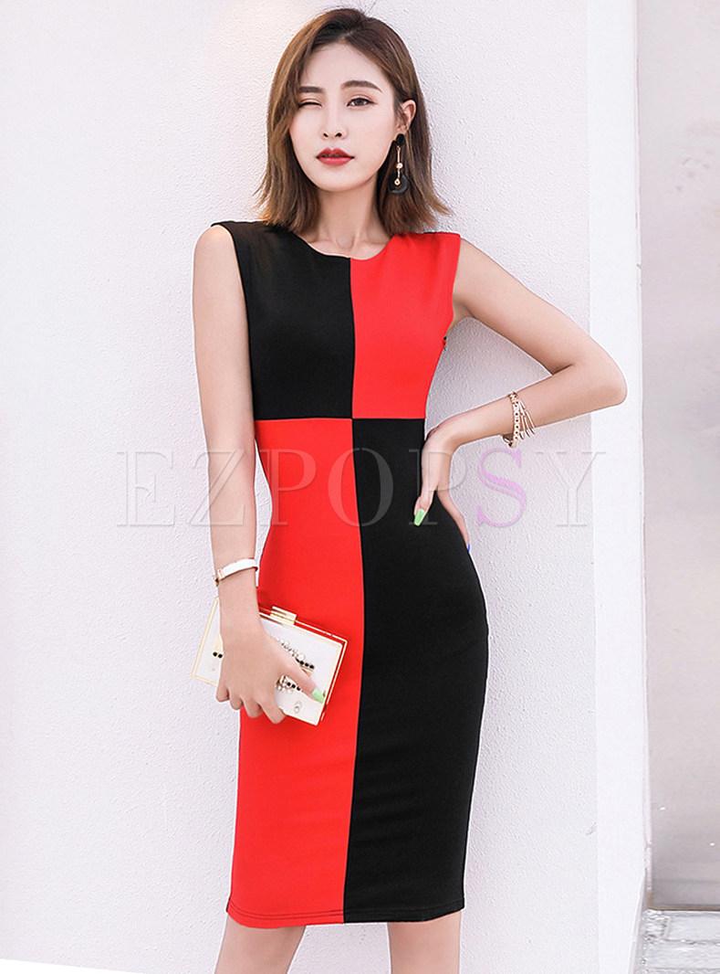 Color-blocked O-neck Sleeveless Bodycon Dress