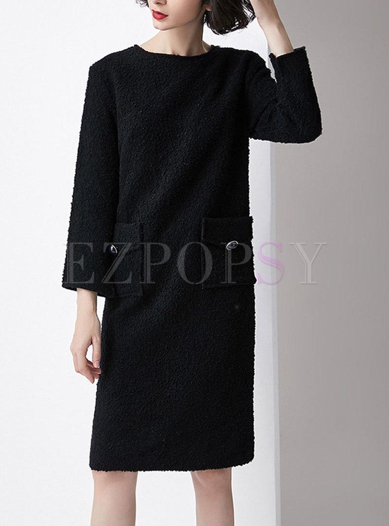 Black Crew-neck Pockets Decoration Skinny Hairy Dress
