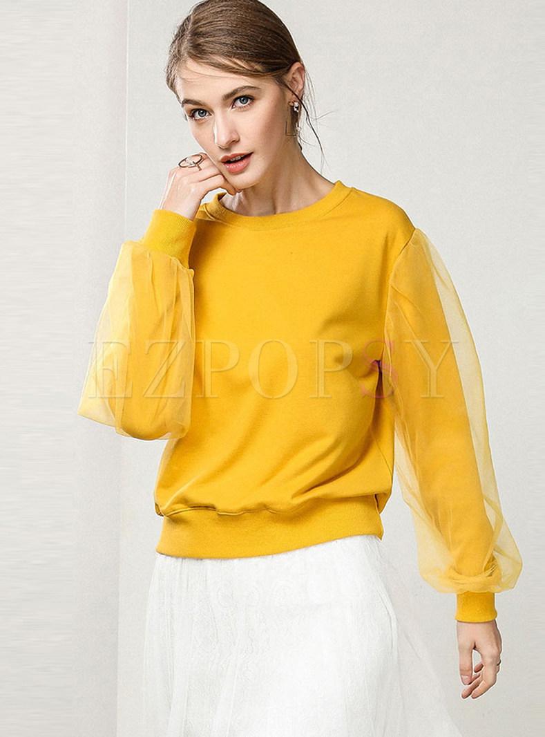 Mesh Lantern Sleeve Stitching Loose Sweatshirt