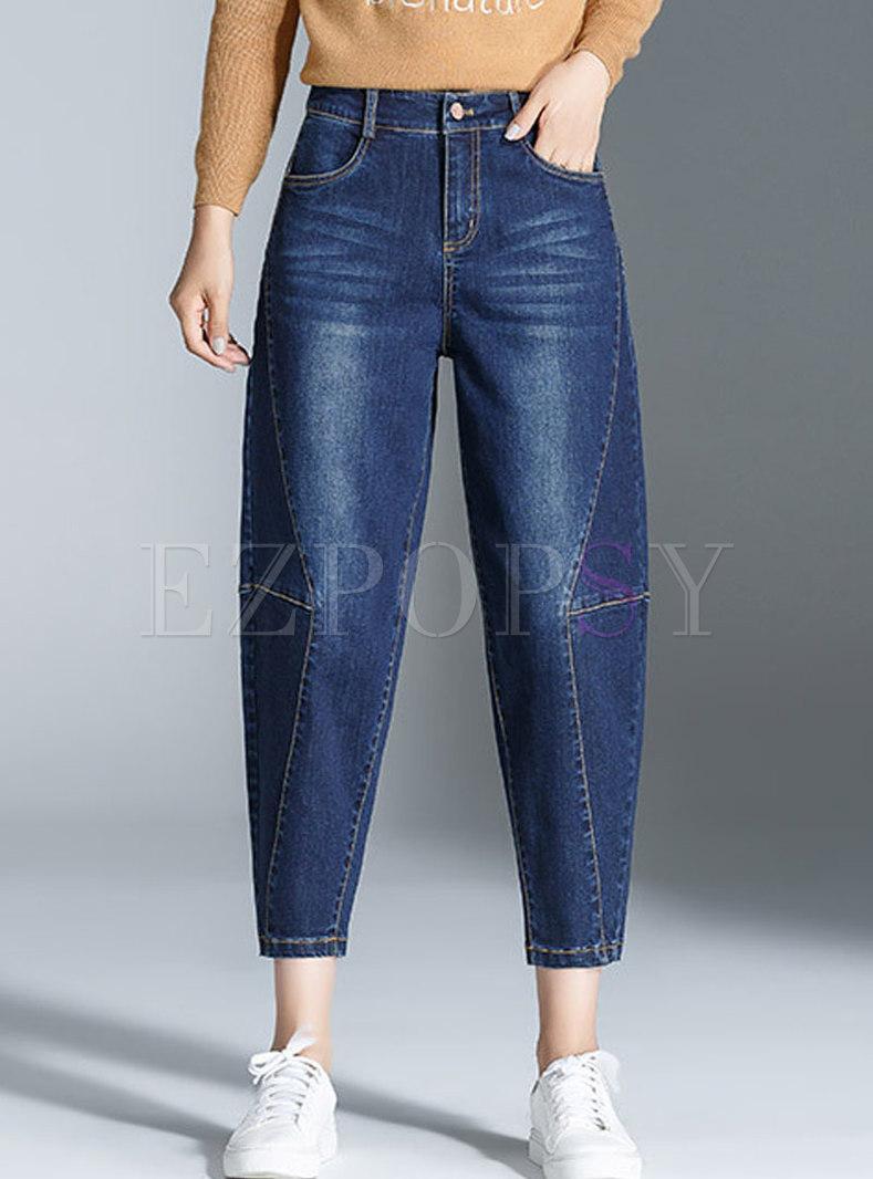 Blue Denim Splicing Harem Pants
