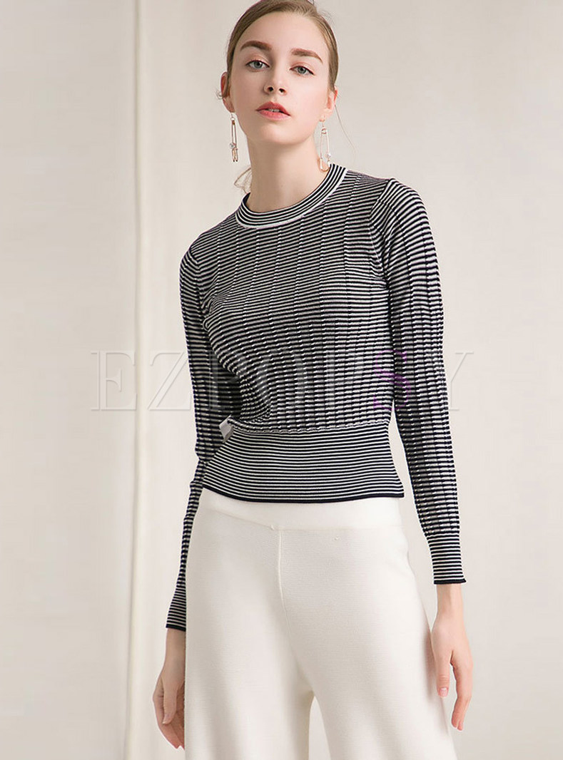 Fashion Black And White Striped Slim Pullover Sweater