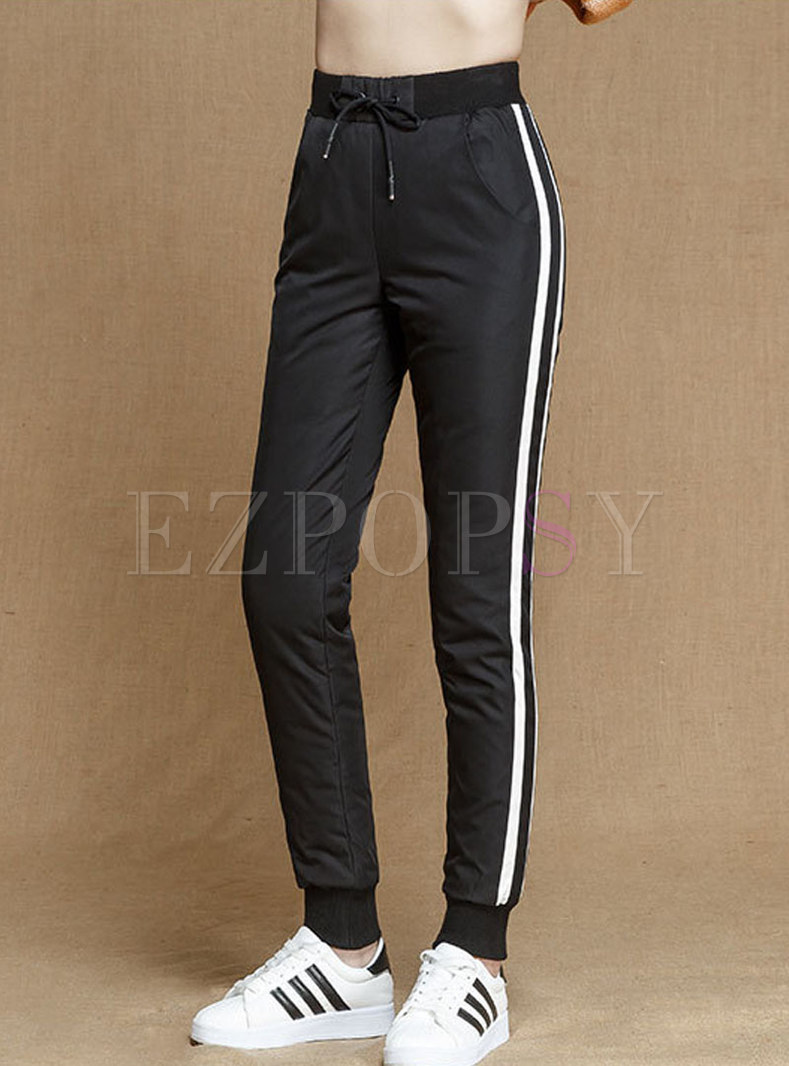 Striped Splicing Elastic Waist Slim Down Pants