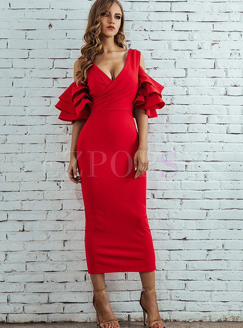 Pure Color Deep V-neck Multi-layer Ruffled Sleeve Dress