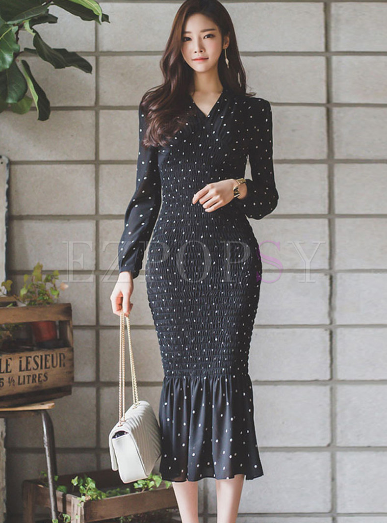 V-neck Polka Dot Long Sleeve Bodycon Mermaid Dress