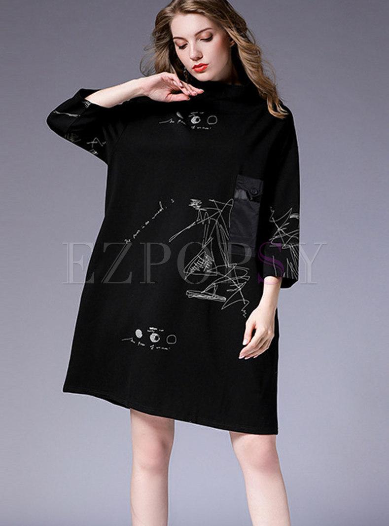 Black Plus Size Three Quarters Sleeve Pockets Shift Dress