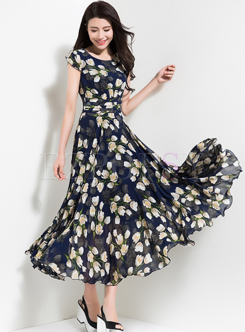 Elegant Flower Print Waist Maxi Dress