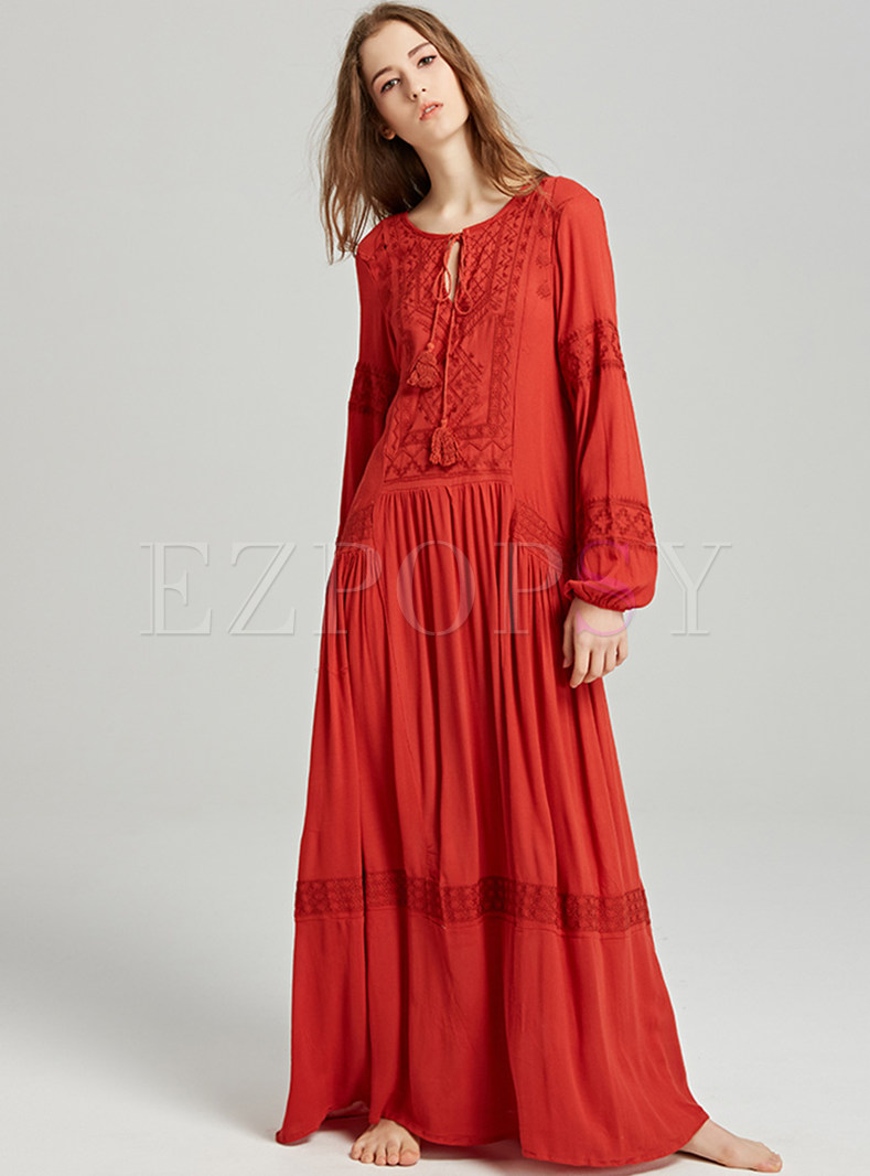 Ethnic Embroidery Tied Tassel Maxi Dress