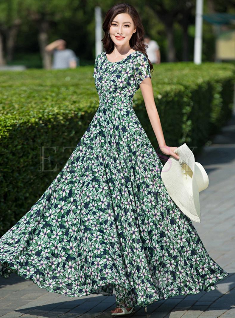 Bohemia Print Short Sleeve Maxi Dress