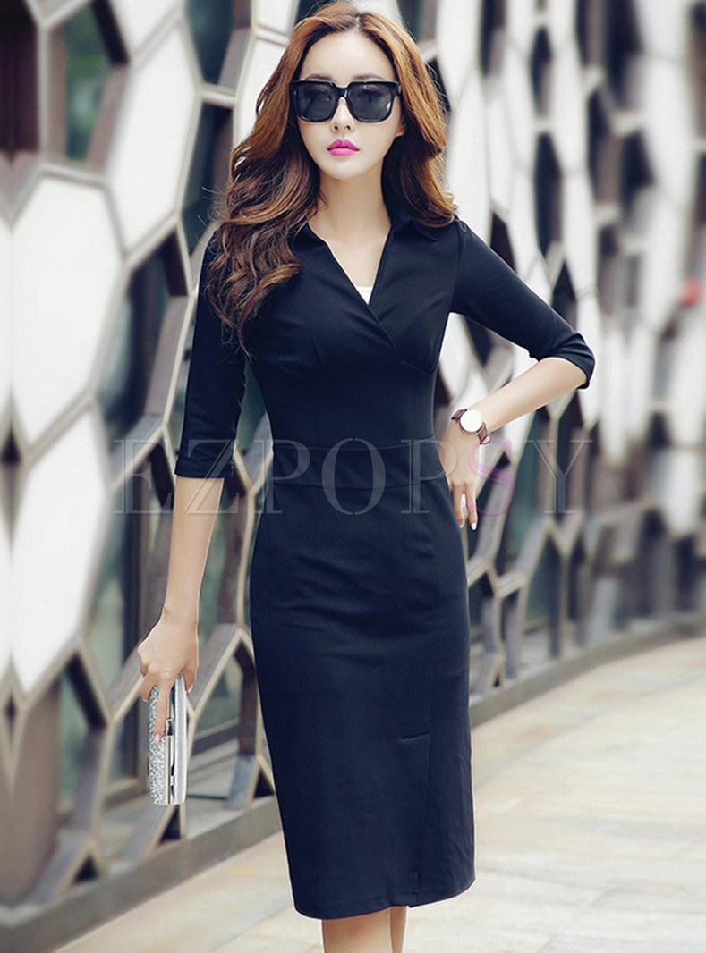 Elegant Turn Down Collar Work Bodycon Dress