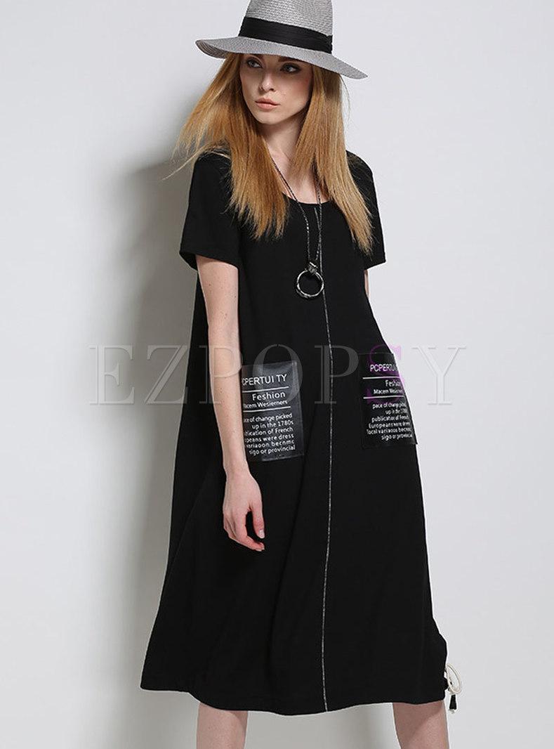6a45932996ec Dresses | T-shirt Dresses | Stylish Black Letter Print Zippered T-shirt  Dress