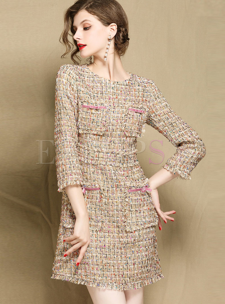 Autumn OL Stylish Woven Three Quarters Sleeve Mini Dress
