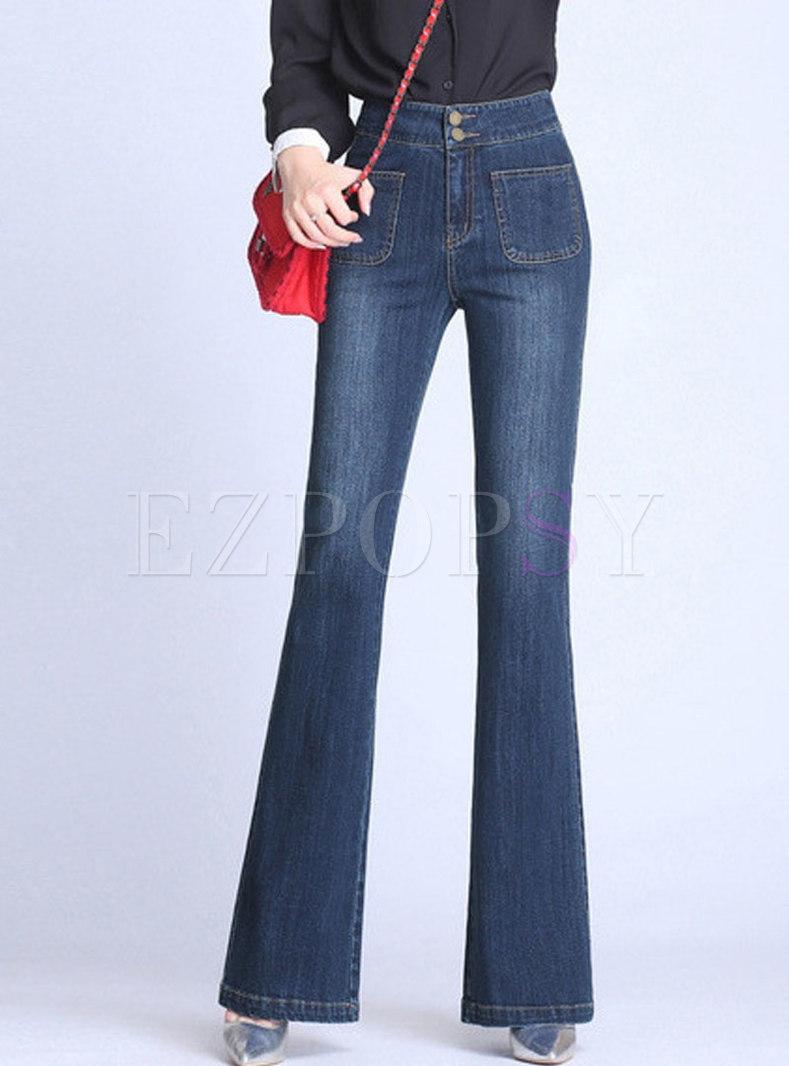 Brief High Waist Elastic Slim Flare Pants