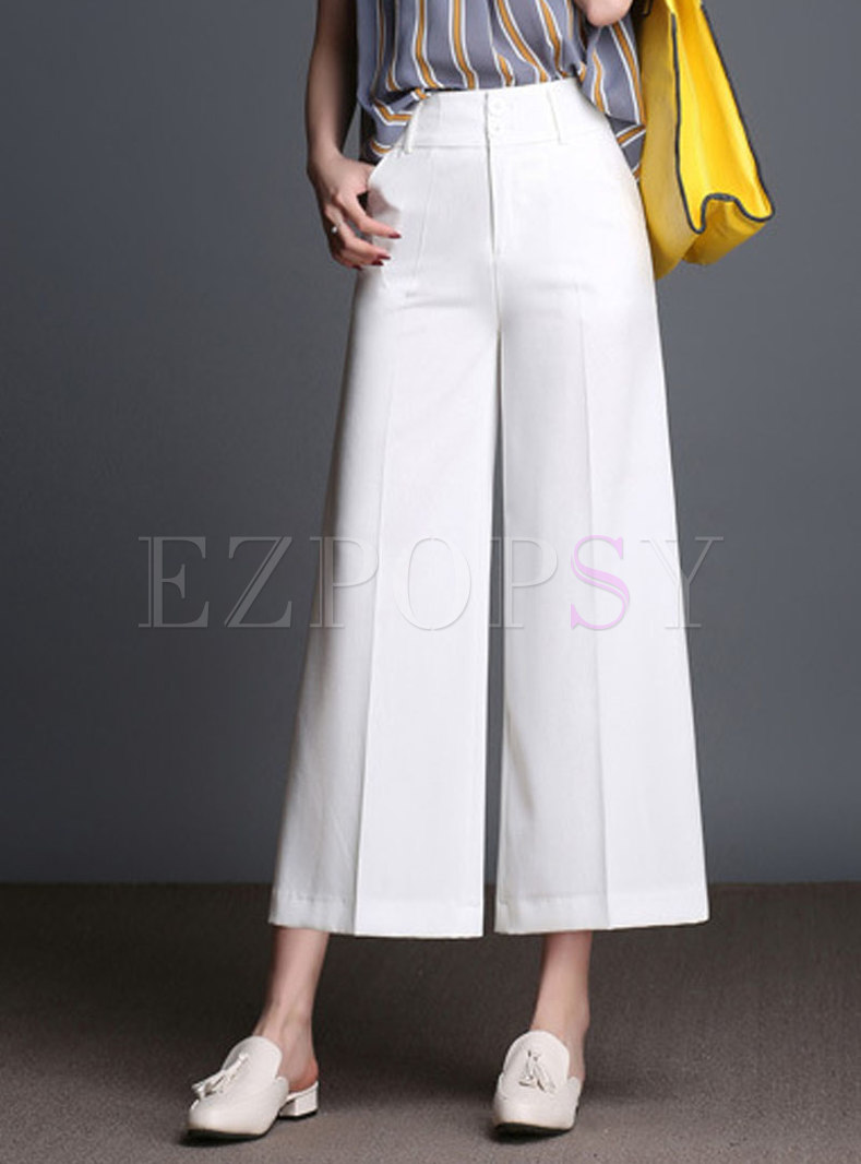 Brief Pure Color High Waist Wide Leg Pants