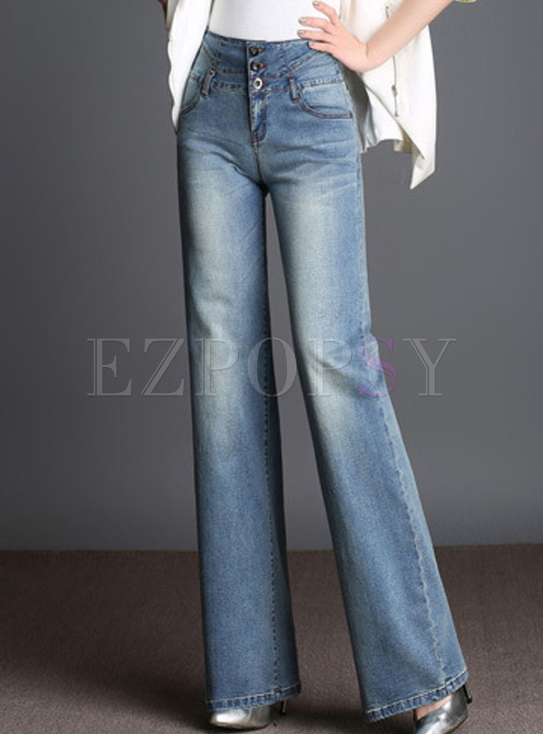 Denim High Waist Elastic Wide Leg Pants