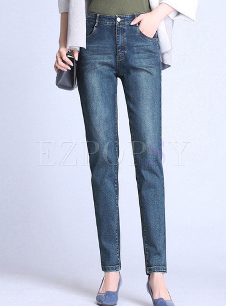 Vintage Denim Elastic Slim Pencil Pants