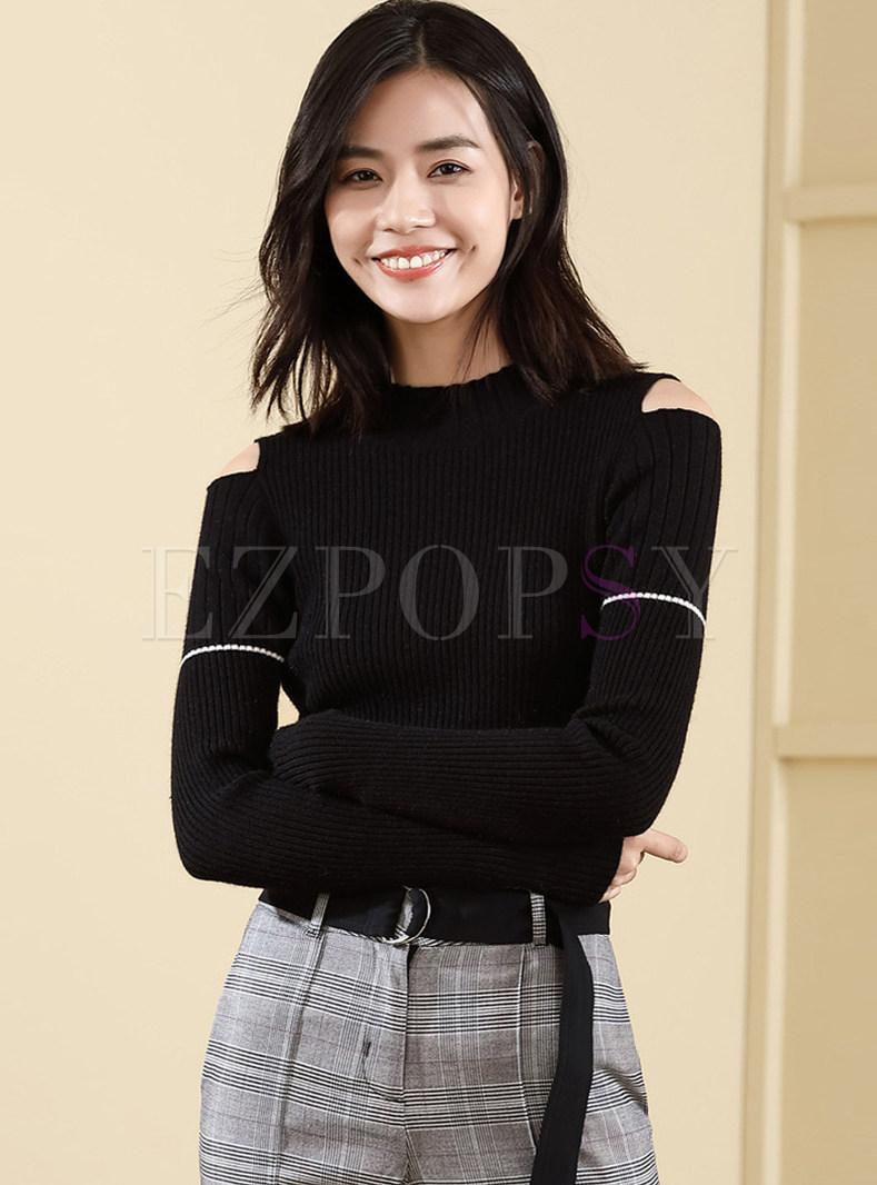 b3019902 Tops | Sweaters | Black Slim Long Sleeve Off Shoulder Sweater