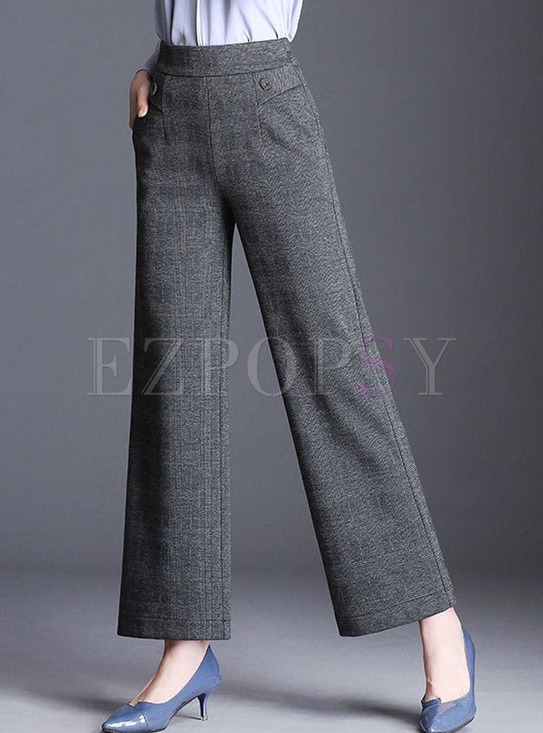 Autumn Grey Work Brief High Waist Plaid Wide-leg Pants