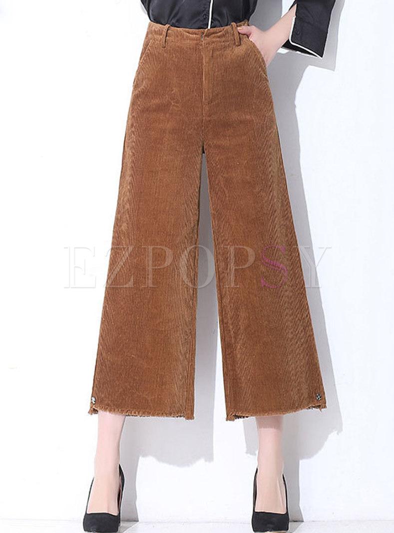 Vintage Caramel Solid Casual Corduroy Wide-leg Pants