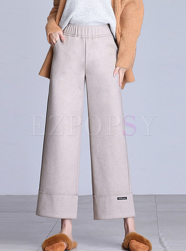 Winter Beige Hairy Wide Leg Pants With Tipped Detail