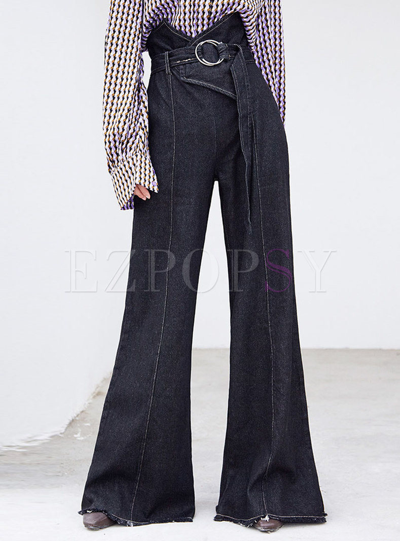 Chic Black Denim High Waist Belted Flare Pants