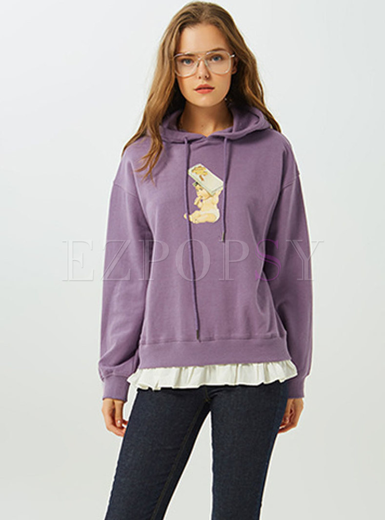 Chic Splicing Print Hooded Loose Hoodie
