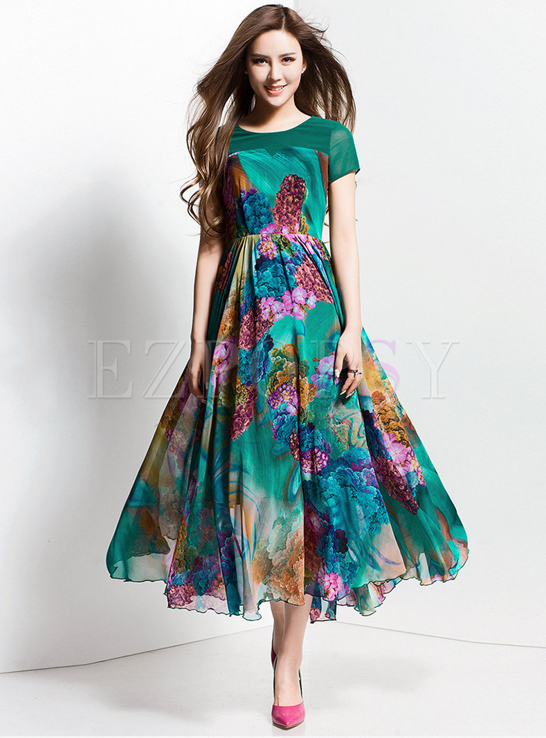 Stylish Short Sleeve Patchwork Print Big Hem Maxi Dress