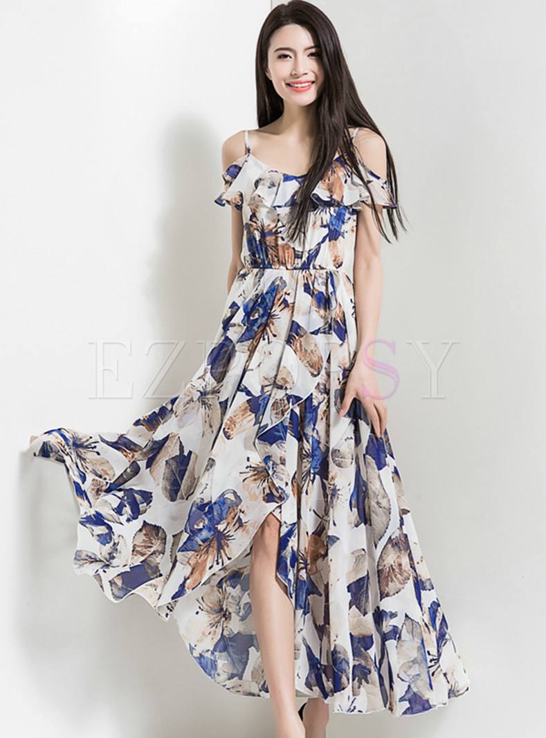 Long Multicolor Print Waist Bohemia Dress
