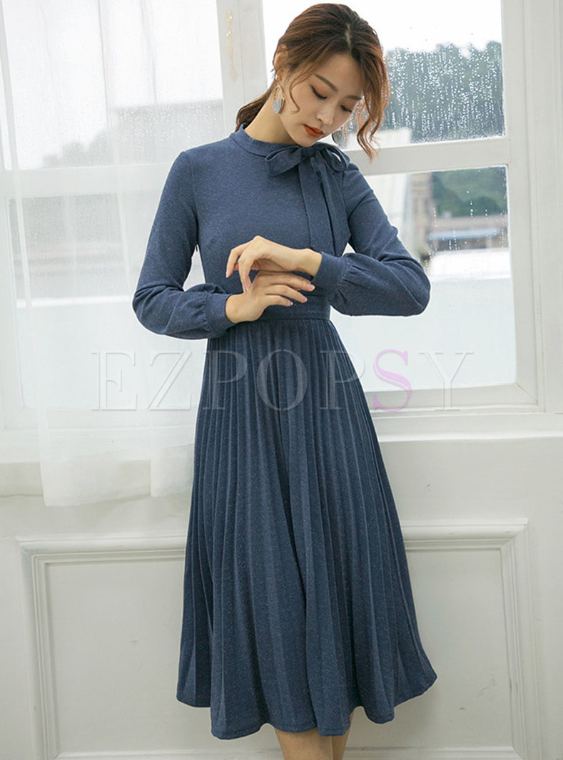 Elegant Long Sleeve Bowknot Gathered Waist Pleated Dress