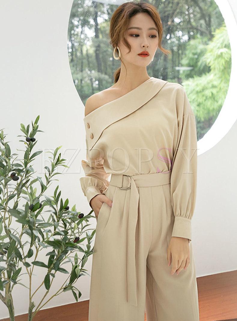 Sexy Solid Color Slash Neck Pullover Blouse