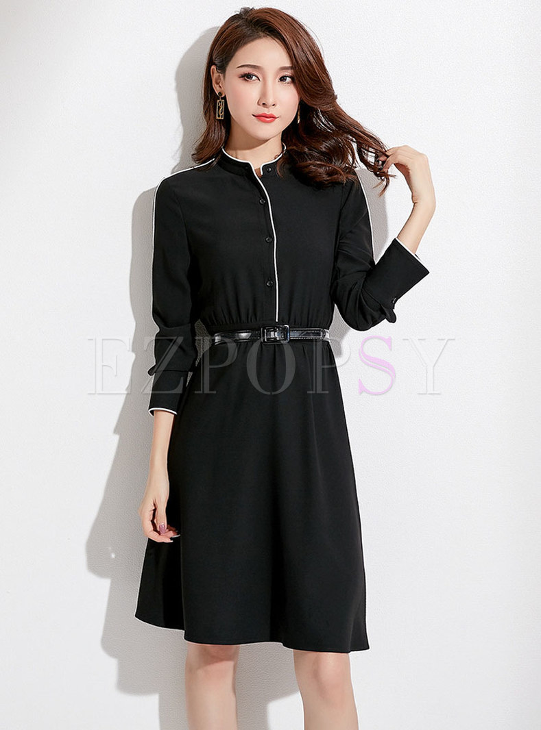 Fashion Black Standing Collar Elegant T-Shirt Dress
