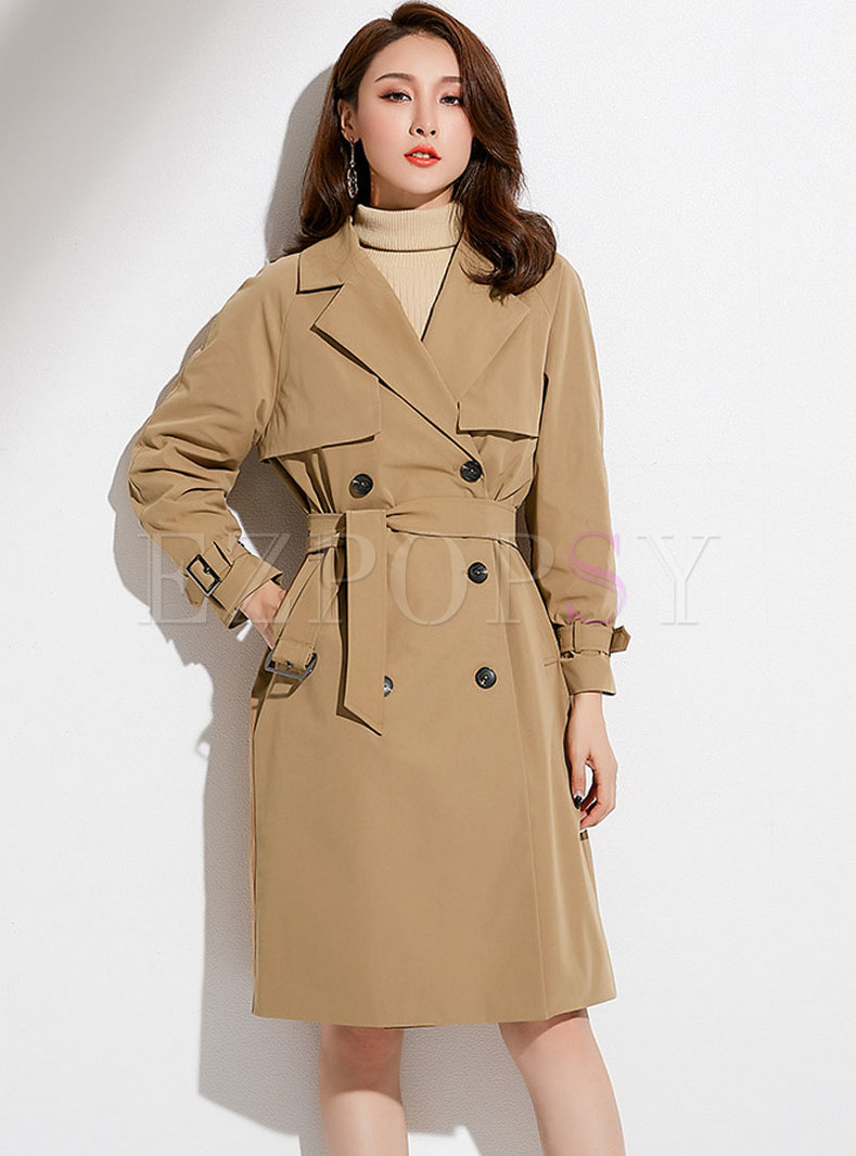 Khaki Lapel Double-breasted Trench Coat