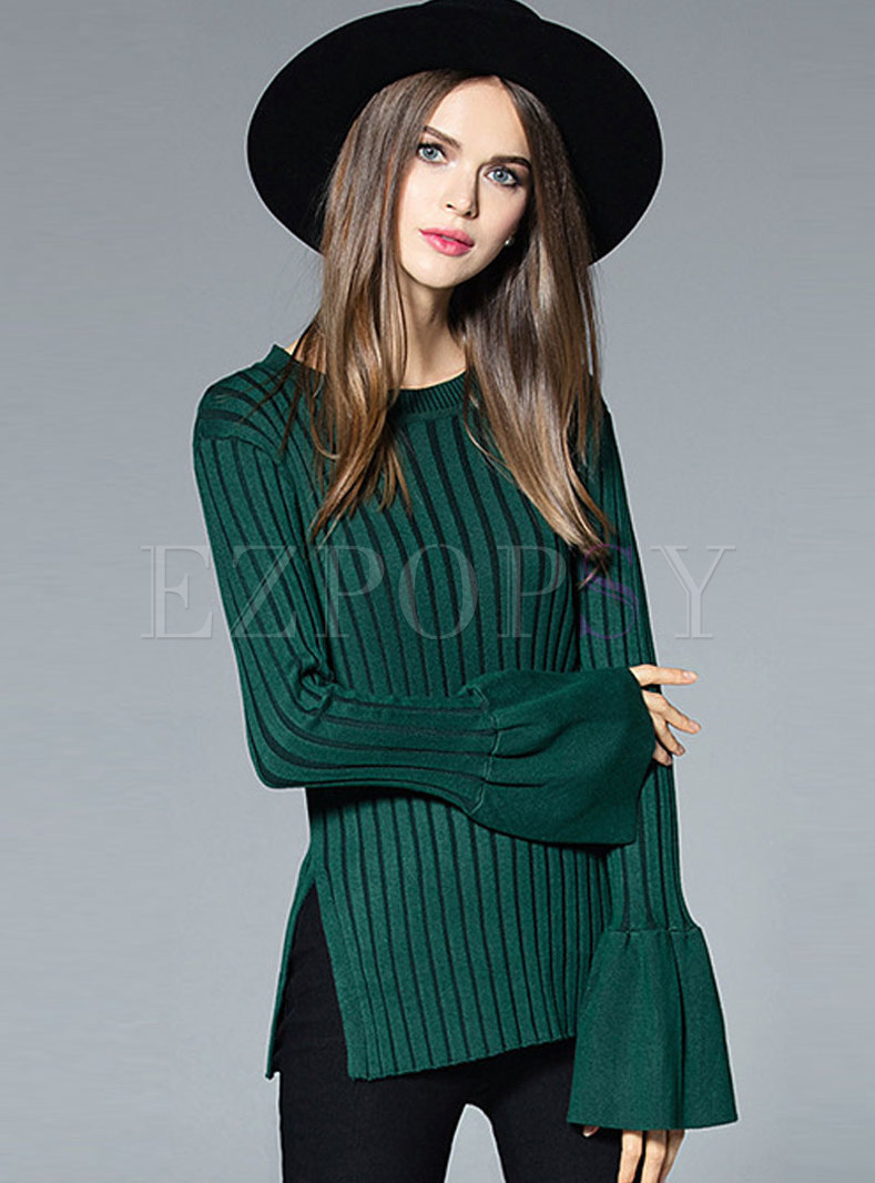 Pure Color Flare Sleeve Side-slit Slim Sweater